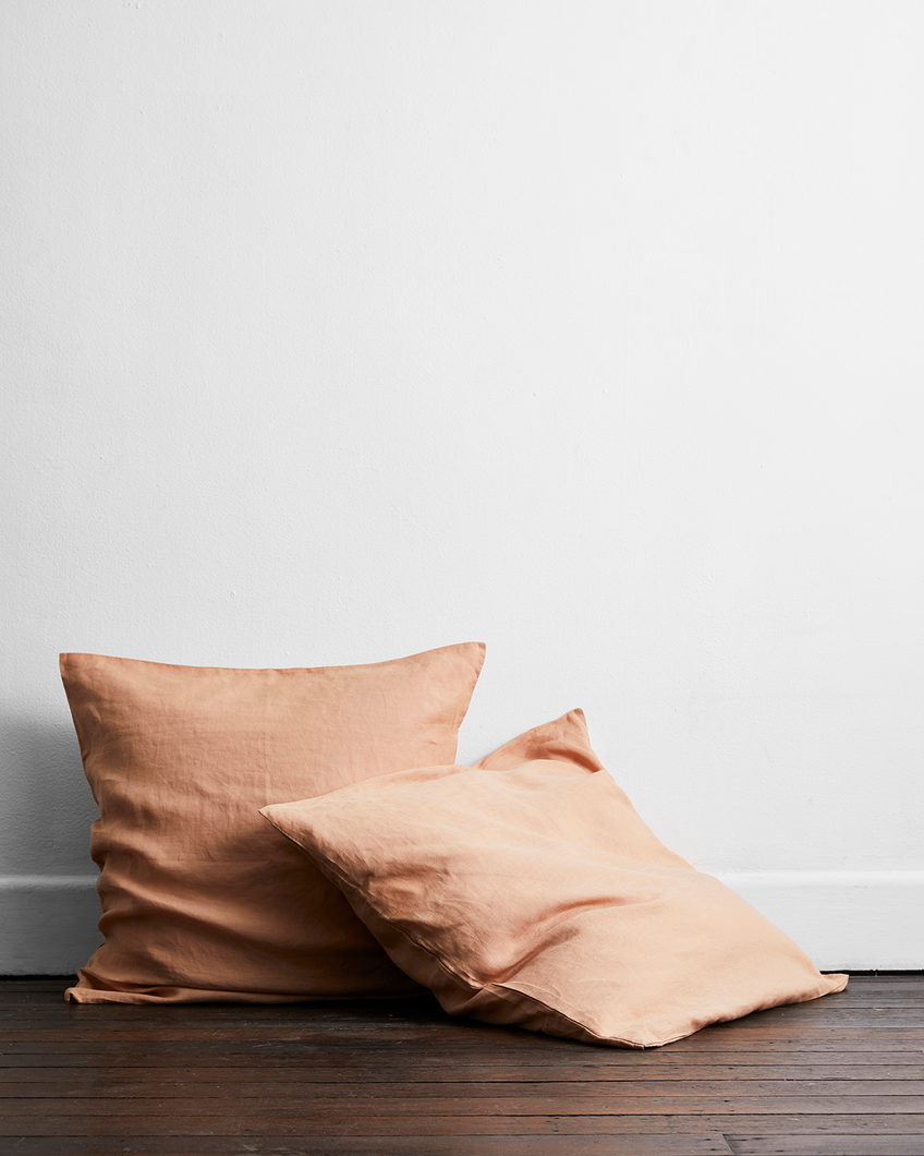 Terracotta 100% Flax Linen European Pillowcases (Set of Two)