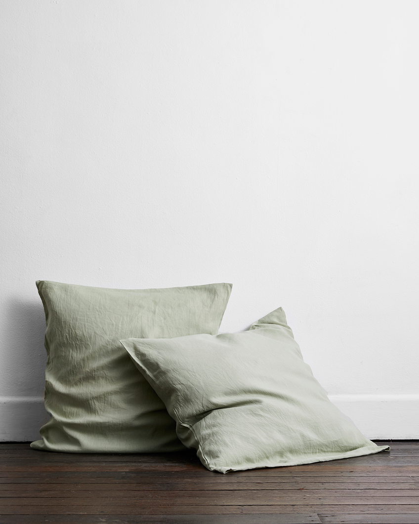 Sage 100% Flax Linen European Pillowcases (Set of Two)