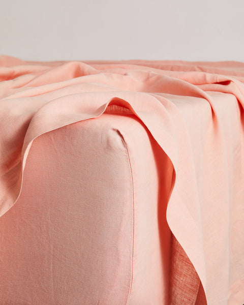 Peach 100% Flax Linen Fitted Sheet - King - Bed Threads