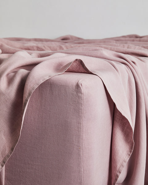 Lavender 100% Flax Linen Fitted Sheet - Queen - Bed Threads