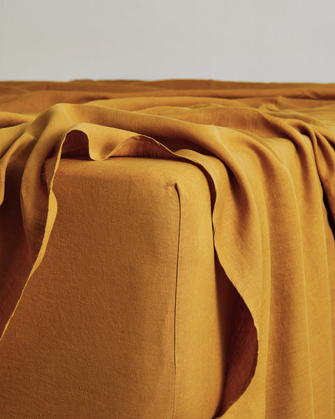 Turmeric 100% Flax Linen Fitted Sheet - Cali King - Bed Threads