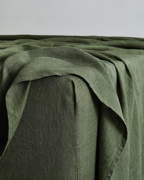 Olive Stripe 100% Flax Linen Fitted Sheet - King - Bed Threads