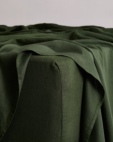 Olive 100% Flax Linen Fitted Sheet - Full - Bed Threads