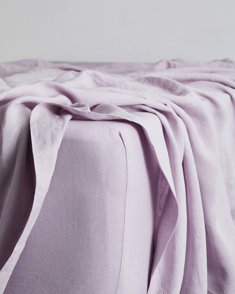 Lilac 100% Flax Linen Fitted Sheet - Full - Bed Threads