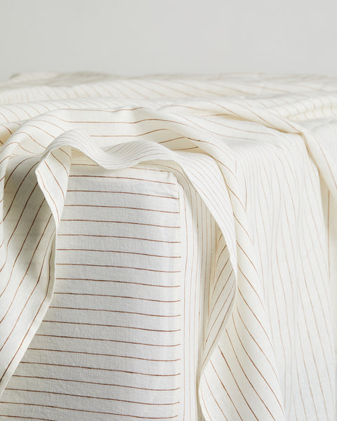 Rust Stripe 100% Flax Linen Fitted Sheet - King - Bed Threads