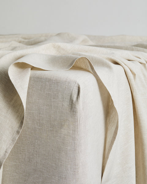 Oatmeal 100% Flax Linen Fitted Sheet - Full - Bed Threads