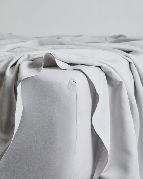 Fog 100% Flax Linen Fitted Sheet - Twin - Bed Threads