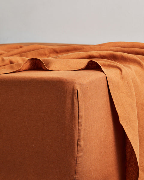 Rust 100% Flax Linen Fitted Sheet - Twin XL - Bed Threads