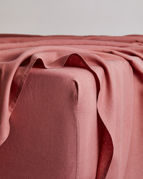 Pink Clay 100% Flax Linen Fitted Sheet - Full - Bed Threads