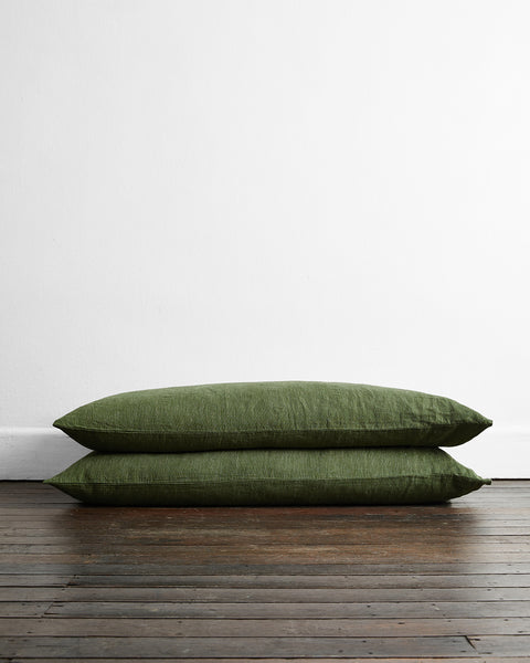 Olive Stripe 100% Flax Linen King Pillowcases (Set of Two) - King Size - Bed Threads