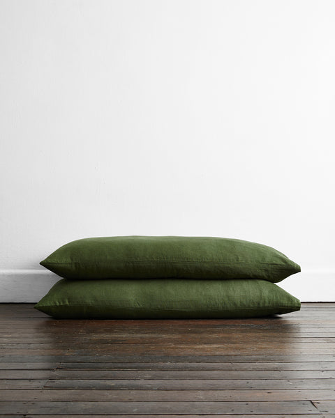 Olive 100% Flax Linen King Pillowcases (Set of Two) - King Size - Bed Threads