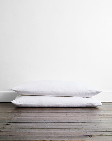 White 100% Flax Linen King Pillowcases (Set of Two) - King Size - Bed Threads