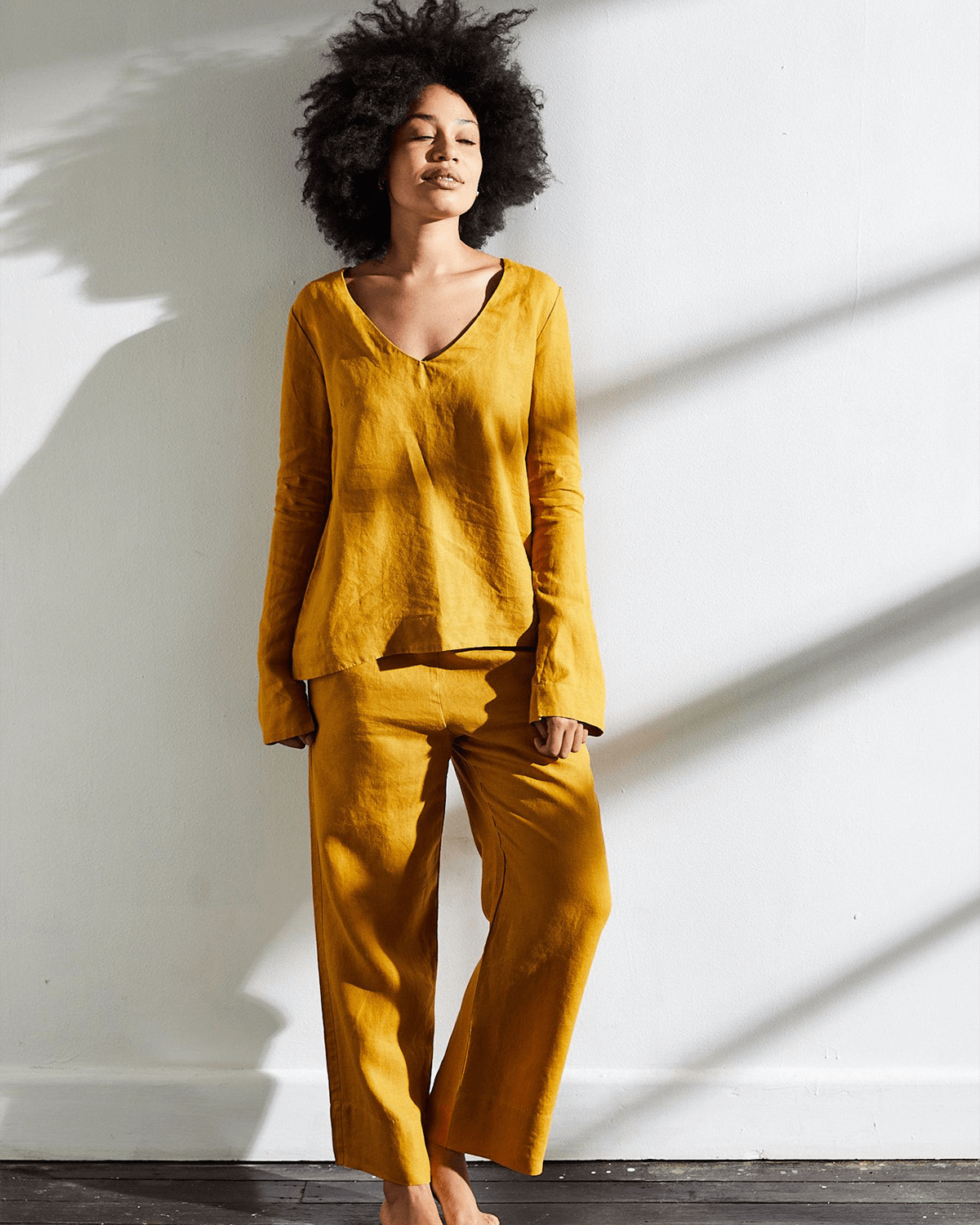 100% French Flax Linen Top in Turmeric