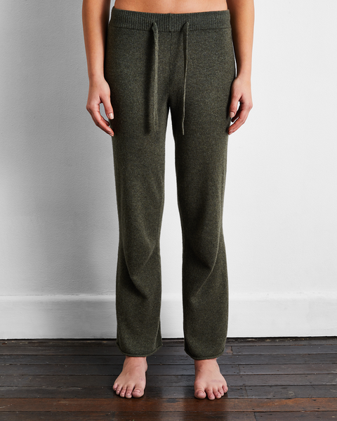 100% Cashmere Pants in Olive - Extra Large - Bed Threads