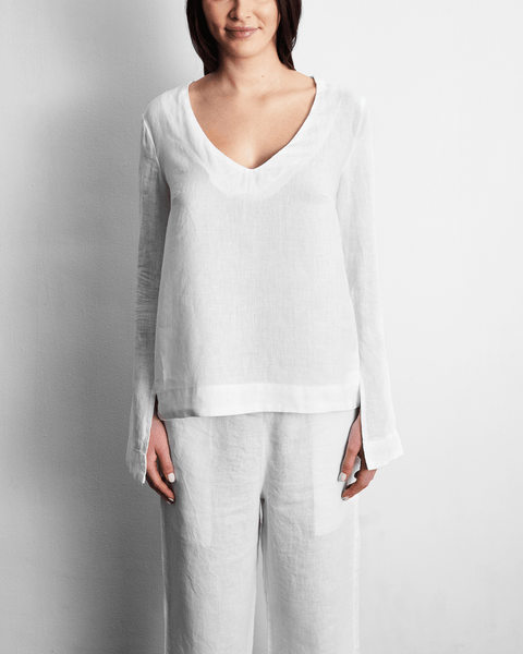 100% French Flax Linen Top in White - Small - Linen Sleepwear - Bed Threads