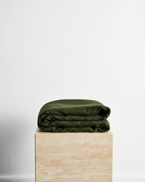 Olive 100% French Flax Linen Throw - Queen - Bed Threads