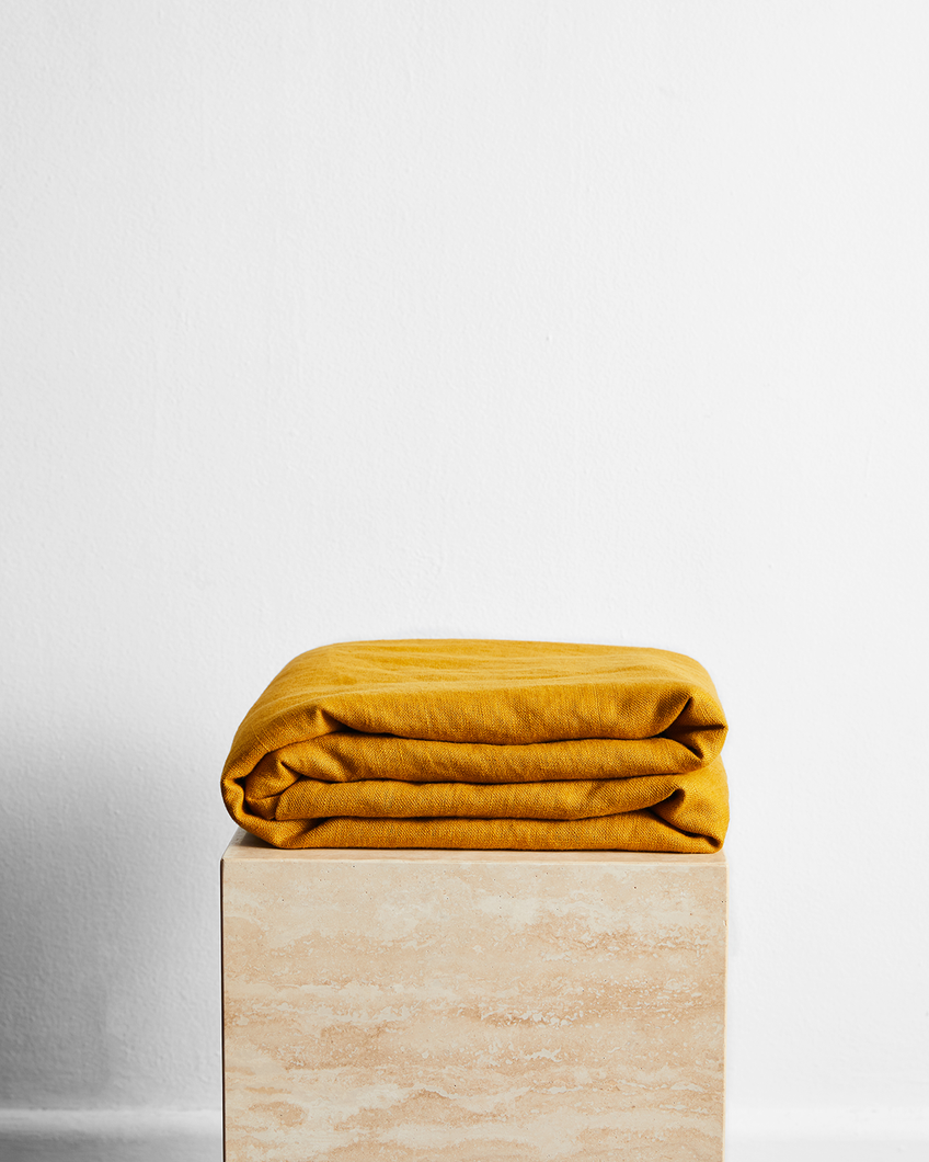 Turmeric 100% French Flax Linen Throw