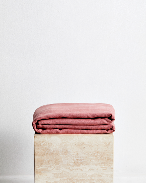 Pink Clay 100% French Flax Linen Throw - King - Bed Threads