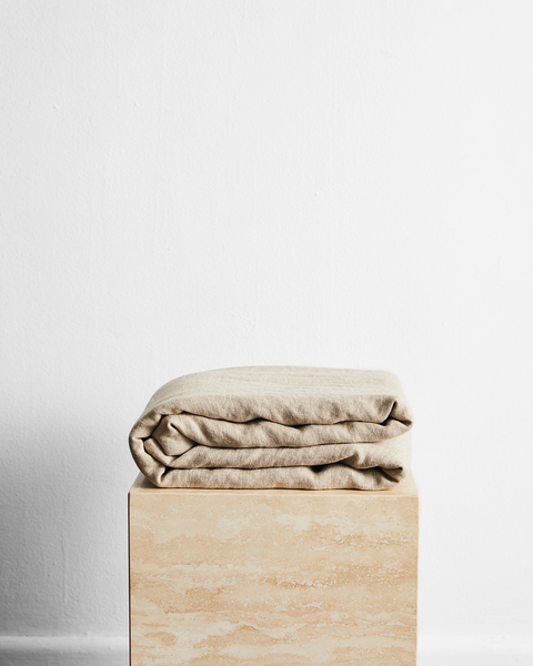 Oatmeal 100% French Flax Linen Throw - Queen - Bed Threads