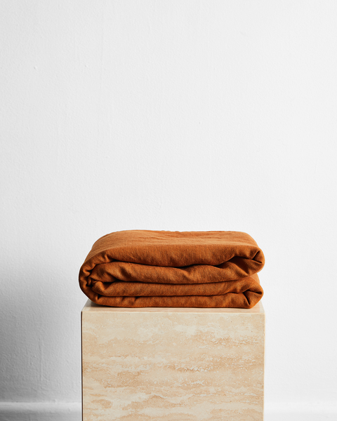 Rust 100% French Flax Linen Throw - King - Bed Threads