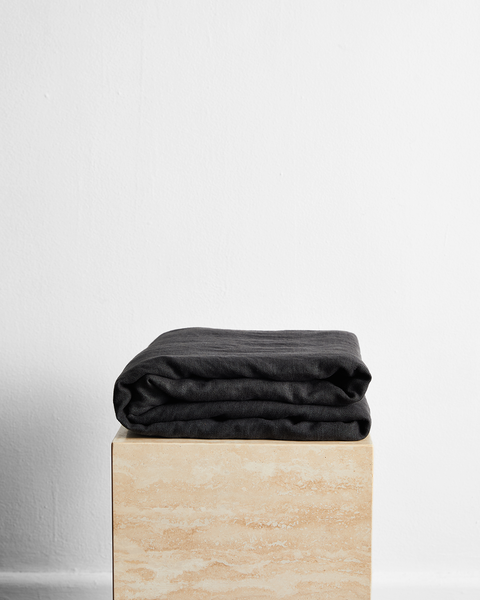 Charcoal 100% French Flax Linen Throw - Cali King - Bed Threads