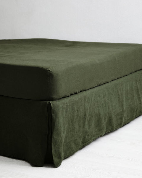 Olive 100% Flax Linen Valance - Cali King - Bed Threads