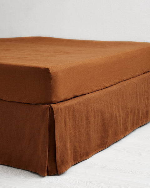 Rust 100% Flax Linen Valance - King - Bed Threads