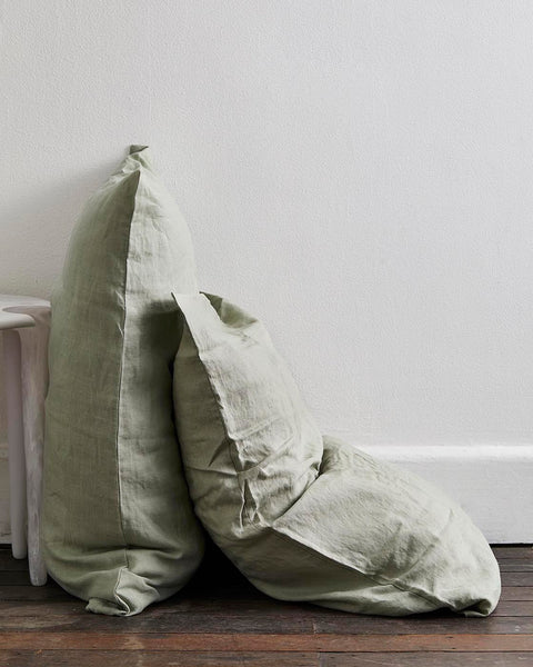 Sage 100% Flax Linen Pillowcases (Set of Two) - Standard Size - Bed Threads
