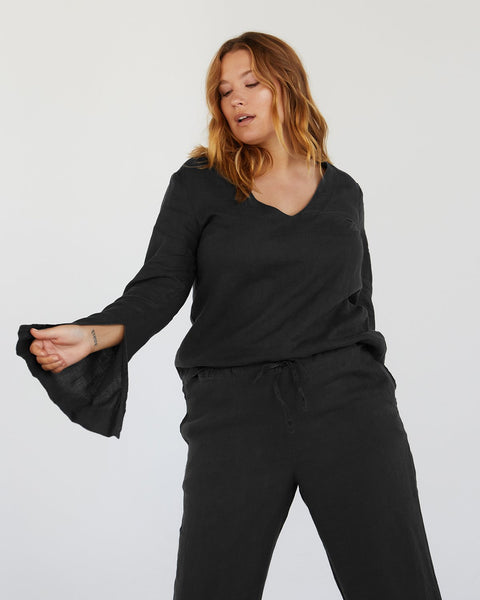 100% French Flax Linen Top in Charcoal - Extra-Large - Linen Sleepwear - Bed Threads