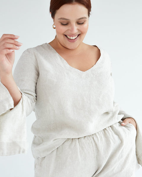 100% French Flax Linen Top in Oatmeal - Small - Linen Sleepwear - Bed Threads