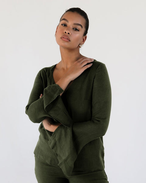 100% French Flax Linen Top in Olive - Double Extra Large - Linen Sleepwear - Bed Threads