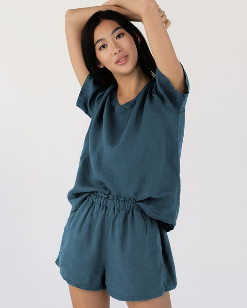 100% French Flax Linen Shorts in Petrol - Triple Extra Large - Linen Sleepwear - Bed Threads