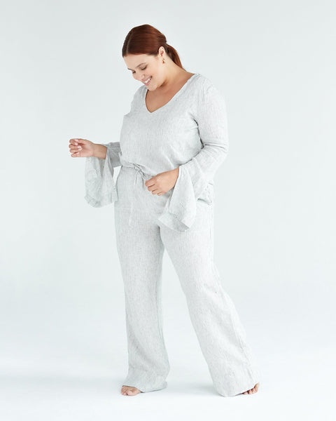 100% French Flax Linen Top in Pinstripe - Large - Linen Sleepwear - Bed Threads