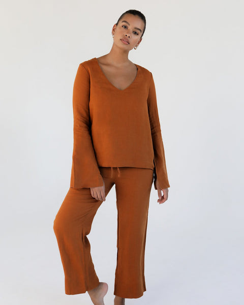 100% French Flax Linen Top in Rust - Double Extra Large - Linen Sleepwear - Bed Threads