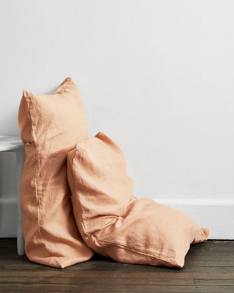 Terracotta 100% Flax Linen Pillowcases (Set of Two) - Standard Size - Bed Threads