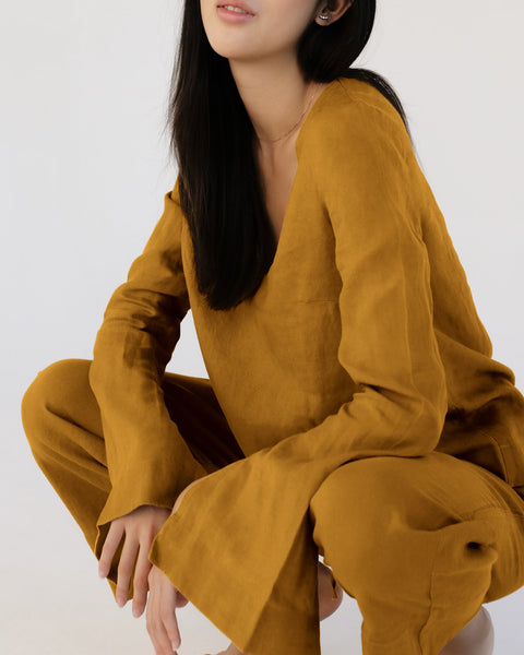 100% French Flax Linen Top in Turmeric - Small - Linen Sleepwear - Bed Threads
