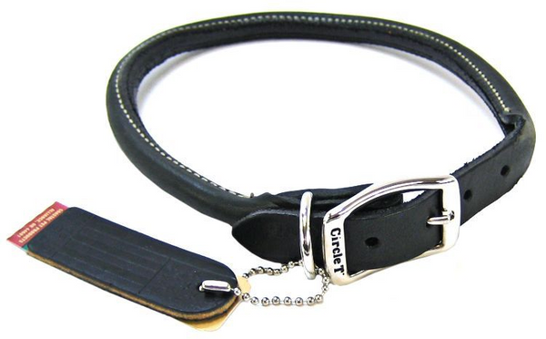 Circle T Pet Leather Round Collar - Black - Frenchie and Friends
