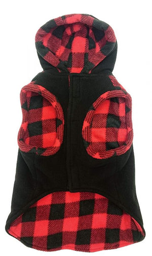 Outdoor Dog Toggle Plaid Trim Dog Coat - Frenchie and Friends