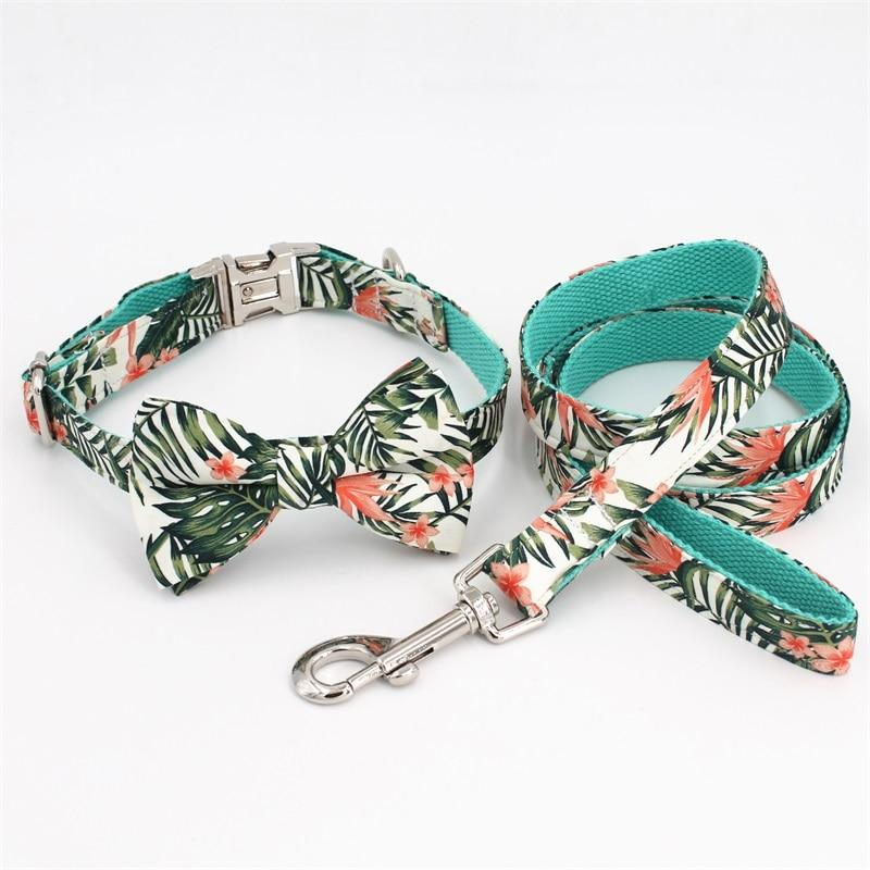Tropical Leaves Collar, Leash & Bow Tie Set