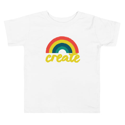 """Create"" Rainbow Toddler Short Sleeve Tee"