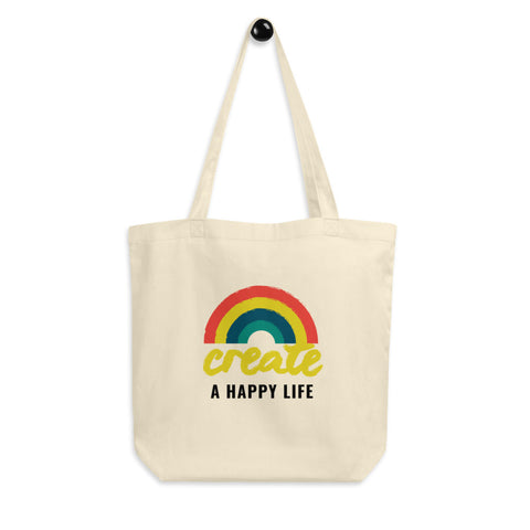 Create A Happy Life Eco-Friendly Rainbow Tote Bag