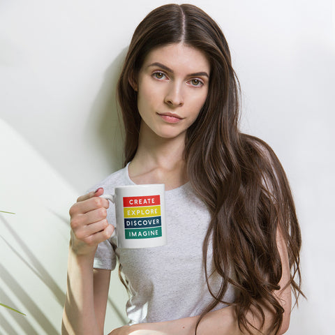 Create Explore Discover Imagine Rainbow Mug