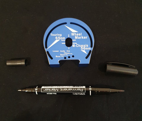 Aluminum Wheel Well Marker For 1:10 Touring M-Chassis Blue With Pen