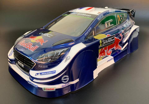 TM218 Ford Fiesta Red Bull 210mm M-chassis body shell - L&L models