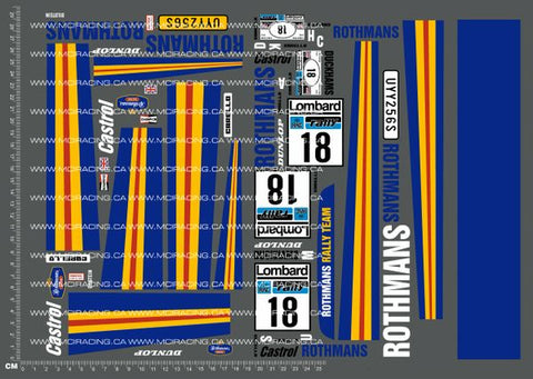 1/10TH ROTHMANS - FORD ESCORT RS1800 DECALS - L&L models