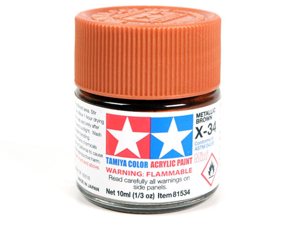 Tamiya X-34 Metal Brown Mini Acrylic Paint - 10ml 81534
