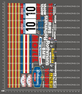 1/10TH BMW M3 ROTHMANS 1987 DECALS - L&L models