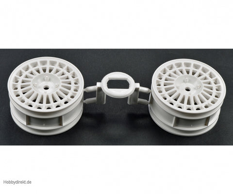 Tamiya #0445250 - Lancia Delta Integrale Wheels (White, 2pcs) for 58117/44029/TA01/TT01- 10445250  [0445250] - L&L models