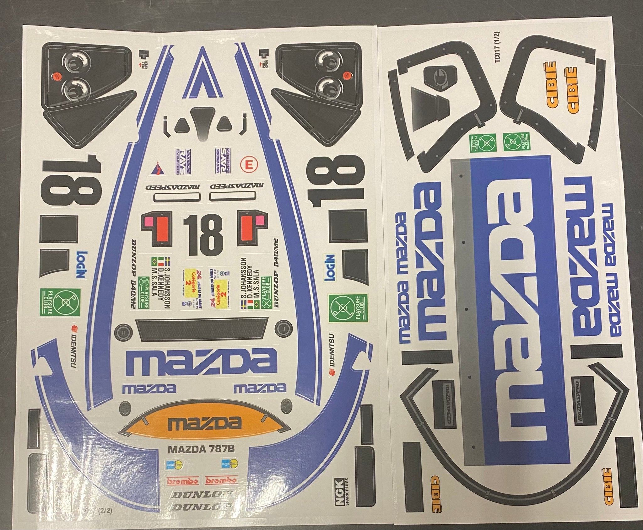 Tc017 decals kit for Mazda group c