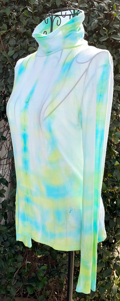 Women's Hand Tie-Dyed Turtleneck Long Sleeve